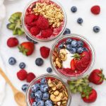 Paleo Granola & Fruit Parfaits - We LOVE these easy parfaits. Perfect for #mealprep or #brunch. Made with dairy free yogurt, grain free granola, and an amazing fruit puree. (Gluten Free, Vegan)
