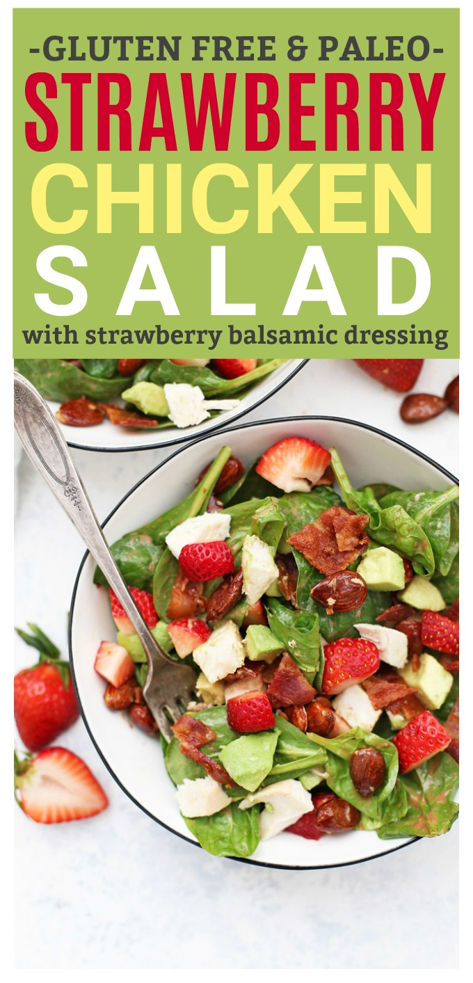 Strawberry Chicken Salad with Strawberry Balsamic Vinaigrette - This bright, fresh salad is so good for spring or summer! (Gluten free, dairy free, paleo)