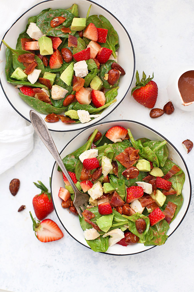 Strawberry Chicken Salad with Strawberry Balsamic Dressing - We love the greens, avocado, bacon, chicken, and strawberries! (Gluten free, dairy free, paleo)