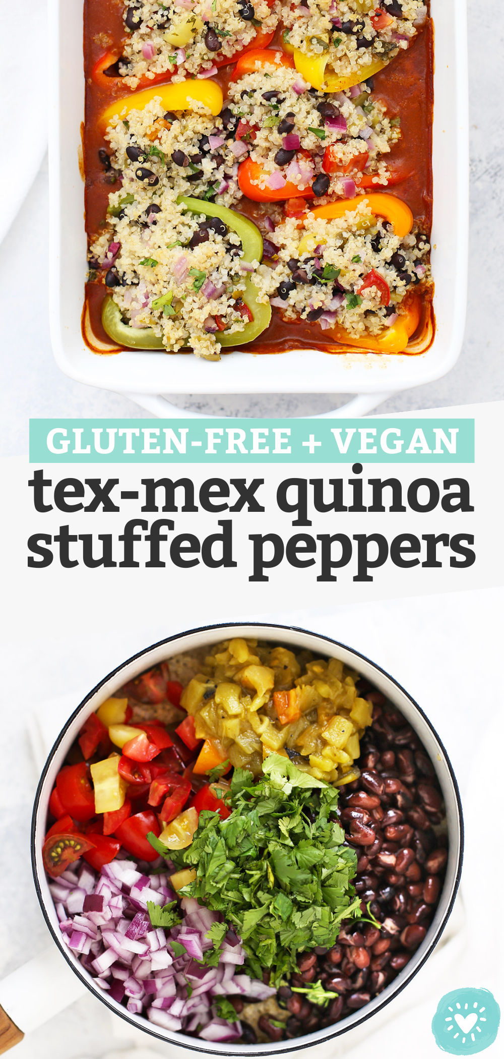 Mexican Stuffed Peppers with Quinoa and Black Beans - This gluten free, vegan dinner is SO GREAT for meal prep! (Don't skip the easy homemade enchilada sauce!) // Tex Mex Quinoa Stuffed Peppers // Vegan Stuffed Peppers #stuffedpeppers #vegandinner #healthydinner #vegan #glutenfree