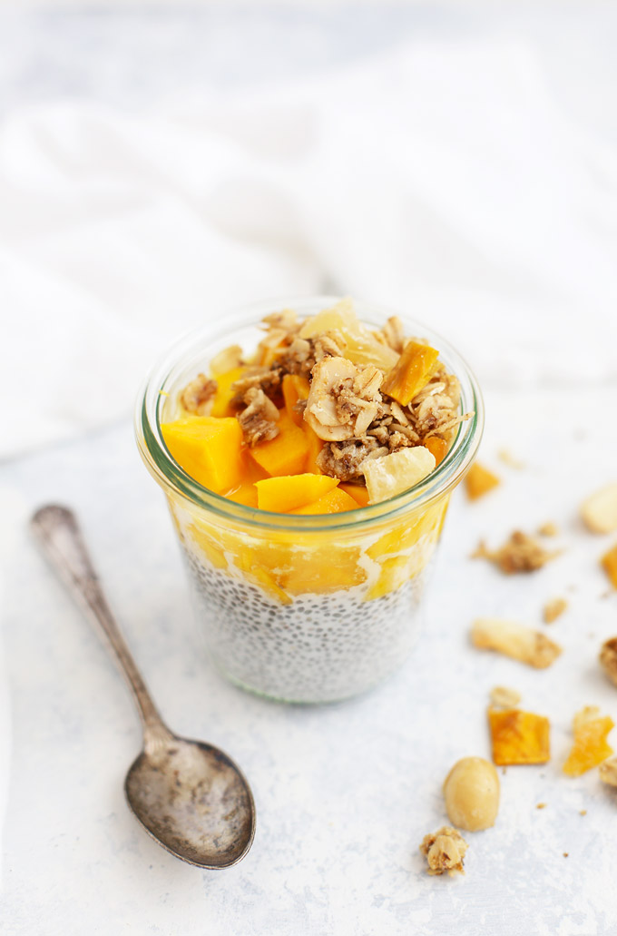 Tropical Coconut Granola with Mango and Pineapple - Gluten Free & Vegan. This is so good sprinkled on chia pudding, acai bowls, smoothies, and more!