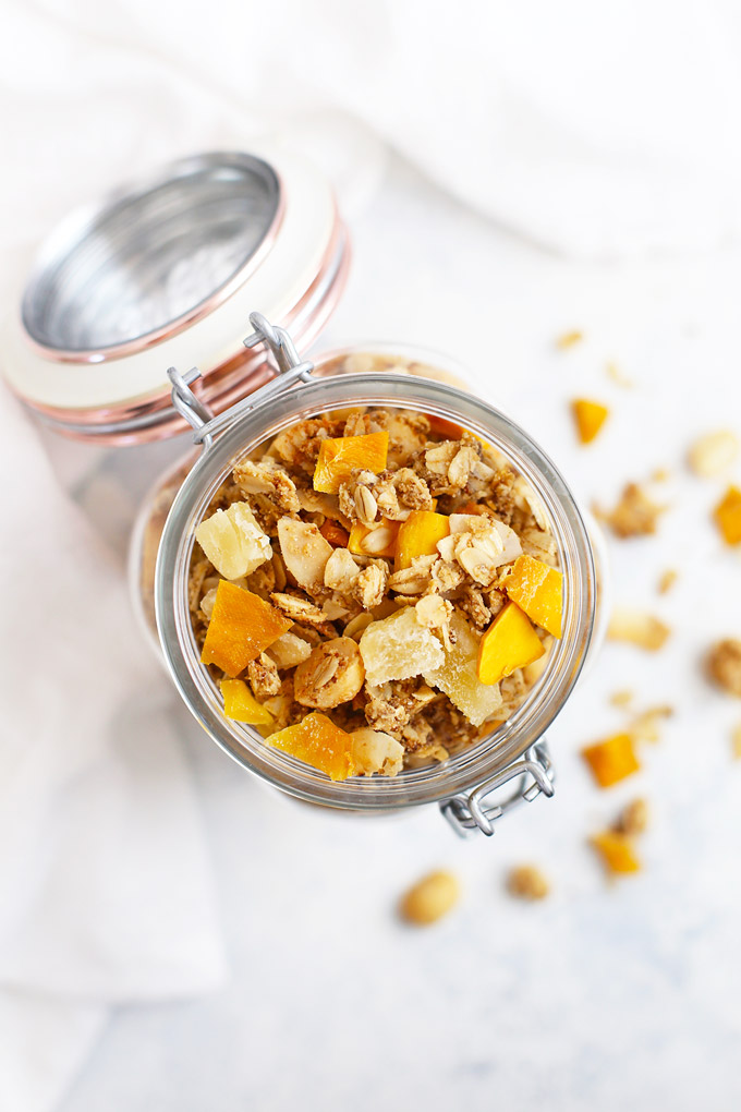 Tropical Coconut Granola with Mango and Pineapple (Gluten Free & Vegan) - This homemade granola recipe is one of THE BEST! I love it!