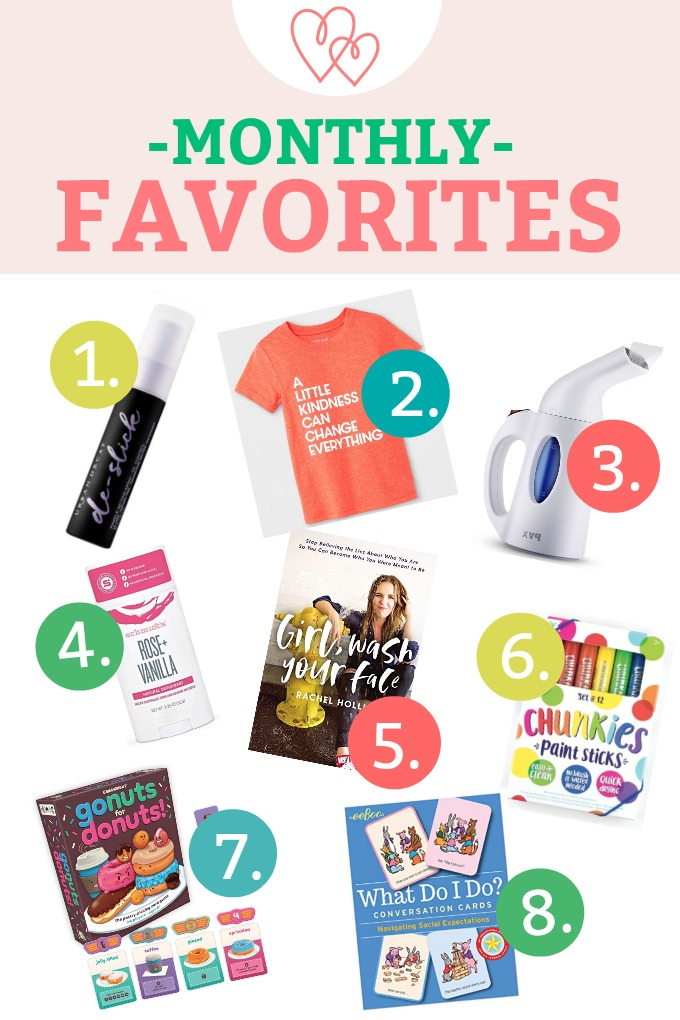 April Monthly Favorites - the best natural deodorant, a clothes steamer, a good book, fun games, and more!