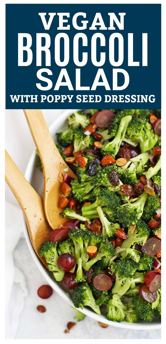 Vegan Broccoli Salad - This gorgeous vegan broccoli salad is gluten and dairy free, but has all the same flavors of the classic. You won't want to miss the poppy seed dressing!