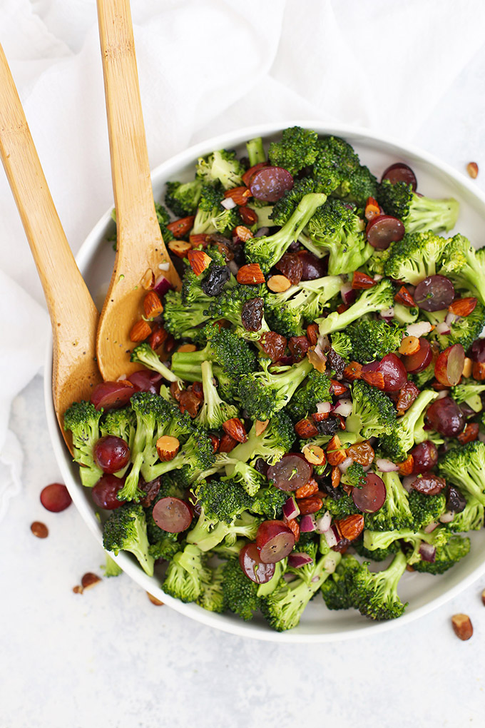 Vegan Broccoli Salad with Poppy Seed Dressing in a white salad bowl