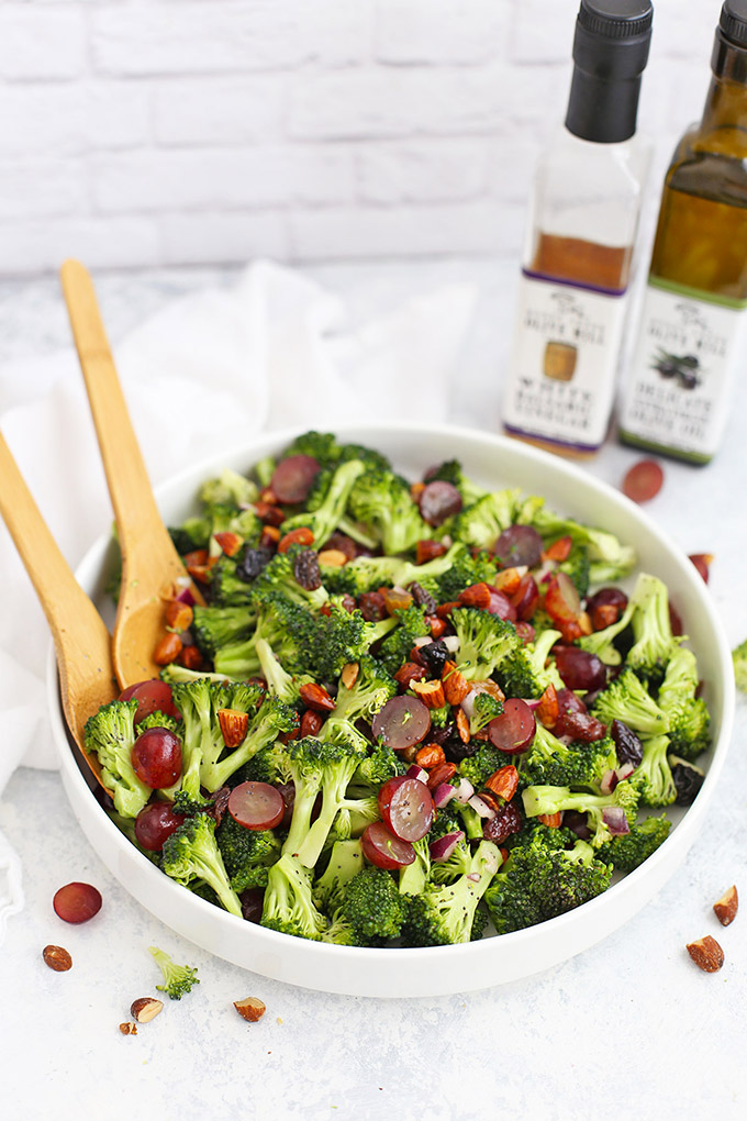 Front view of Vegan Broccoli Salad with Poppy Seed Dressing in a white salad bowl