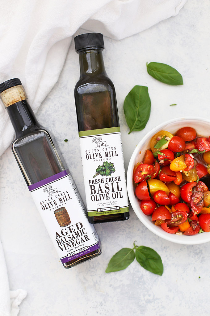 Love my Queen Creek Olive Mill aged balsamic vinegar and basil oil. So perfect for my Bruschetta Grilled Chicken! (The balsamic marinade is amazing!)