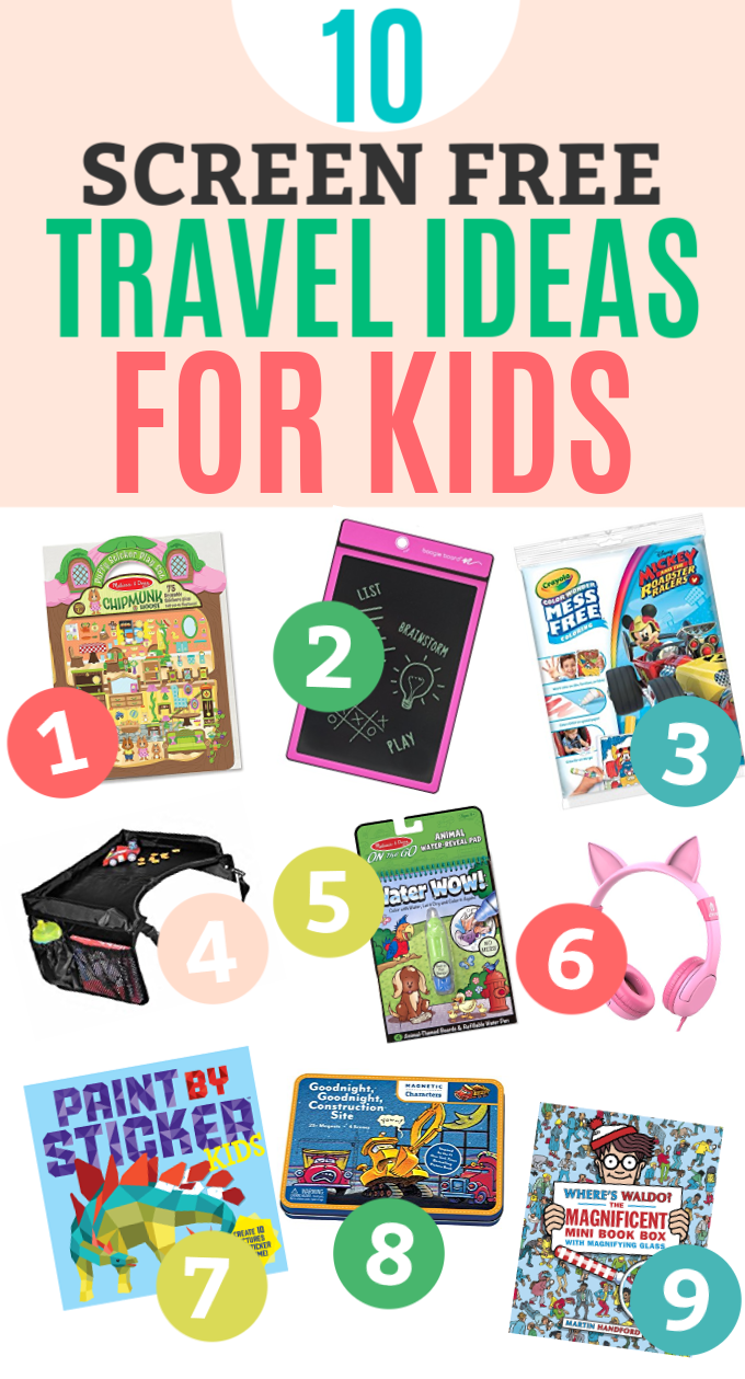 10 SCREEN FREE Travel Ideas for Kids - No batteries required! Perfect options for car trips, plane rides, restaurants, and more!