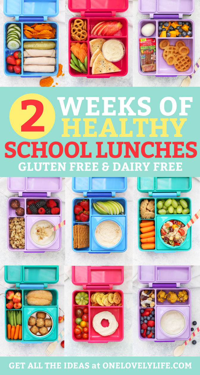 "Healthy School Lunches packed in Omie Box Lunchboxes with text overlay that reads ""2 Weeks of Healthy School Lunch Ideas. Gluten + Dairy-Free, Vegan + Paleo Options!"""