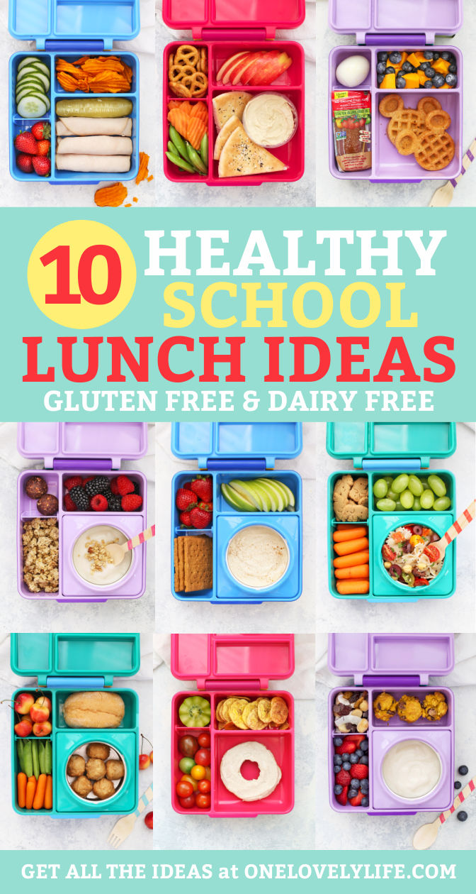 "Healthy School Lunches packed in Omie Box Lunchboxes with text overlay that reads ""10 Healthy School Lunch Ideas. Gluten Free & Dairy Free"""