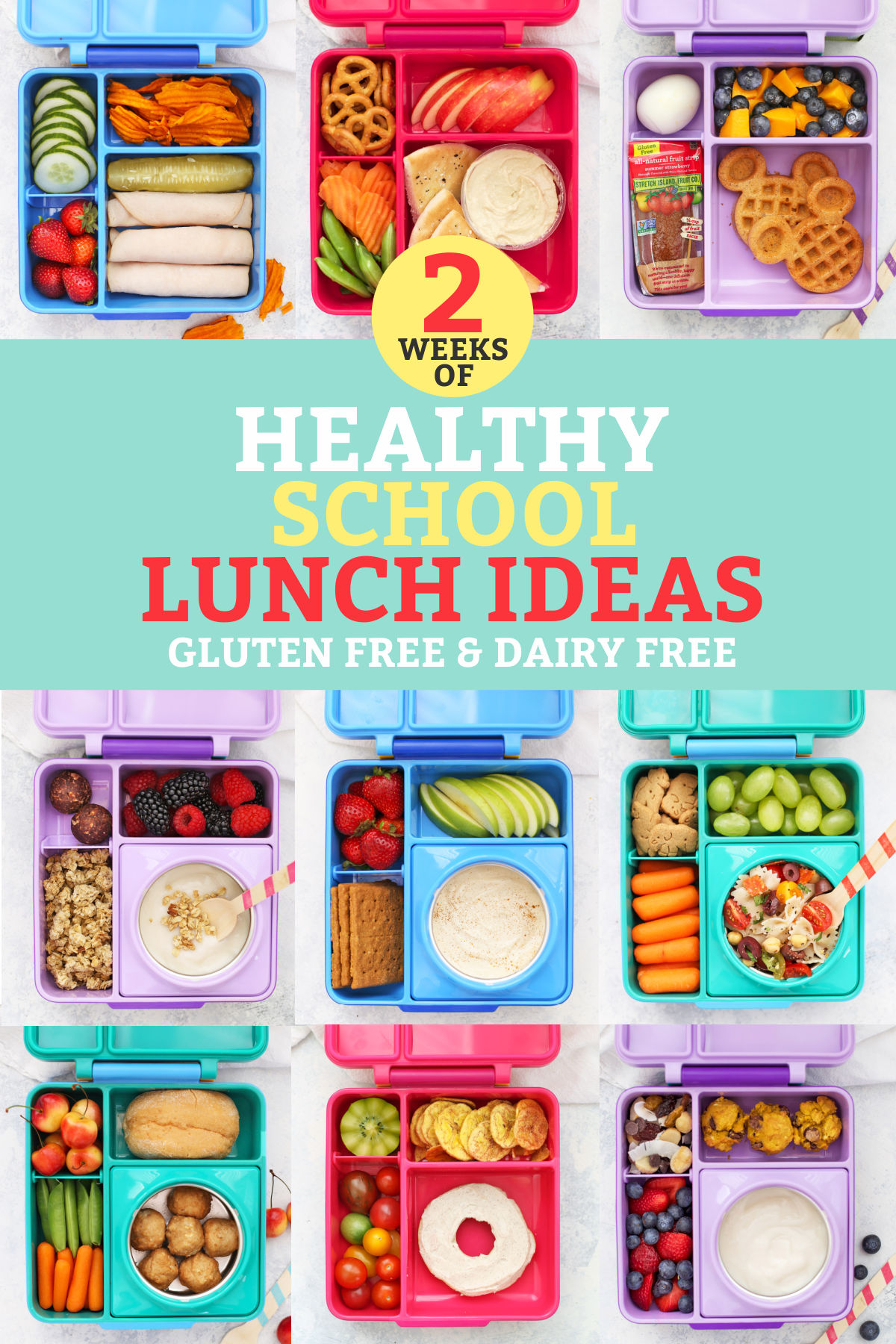 "Healthy School Lunches packed in Omie Box Lunchboxes with text overlay that reads ""2 Weeks of Healthy School Lunch Ideas. Gluten + Dairy-Free"""
