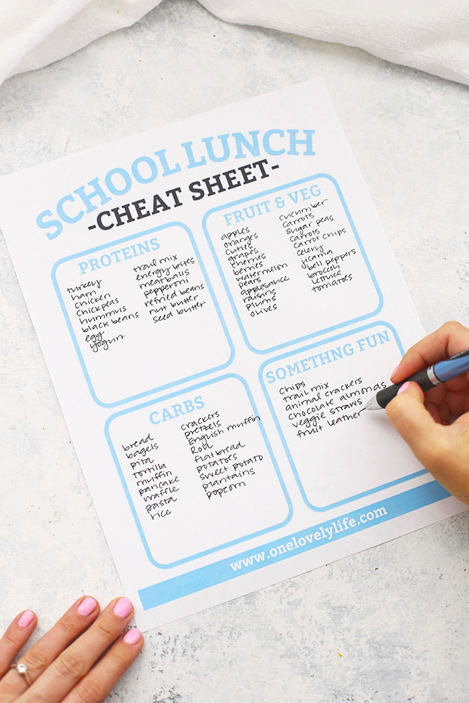 Free Printable School Lunch Packing Cheat Sheet for creating your own lunch combinations