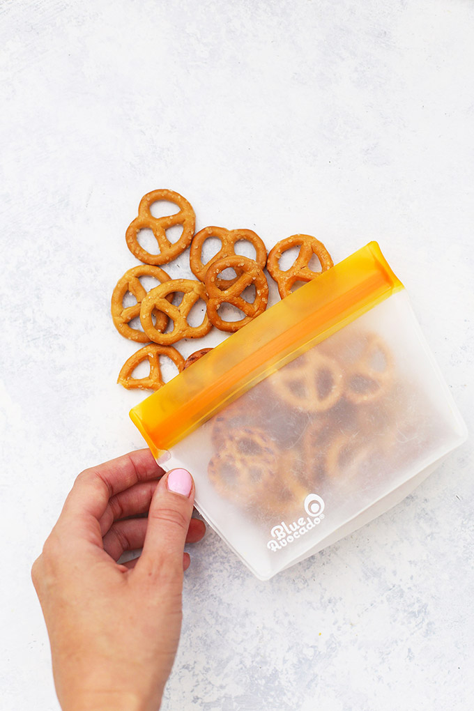Pretzels in a (Re)Zip reusable snack bag