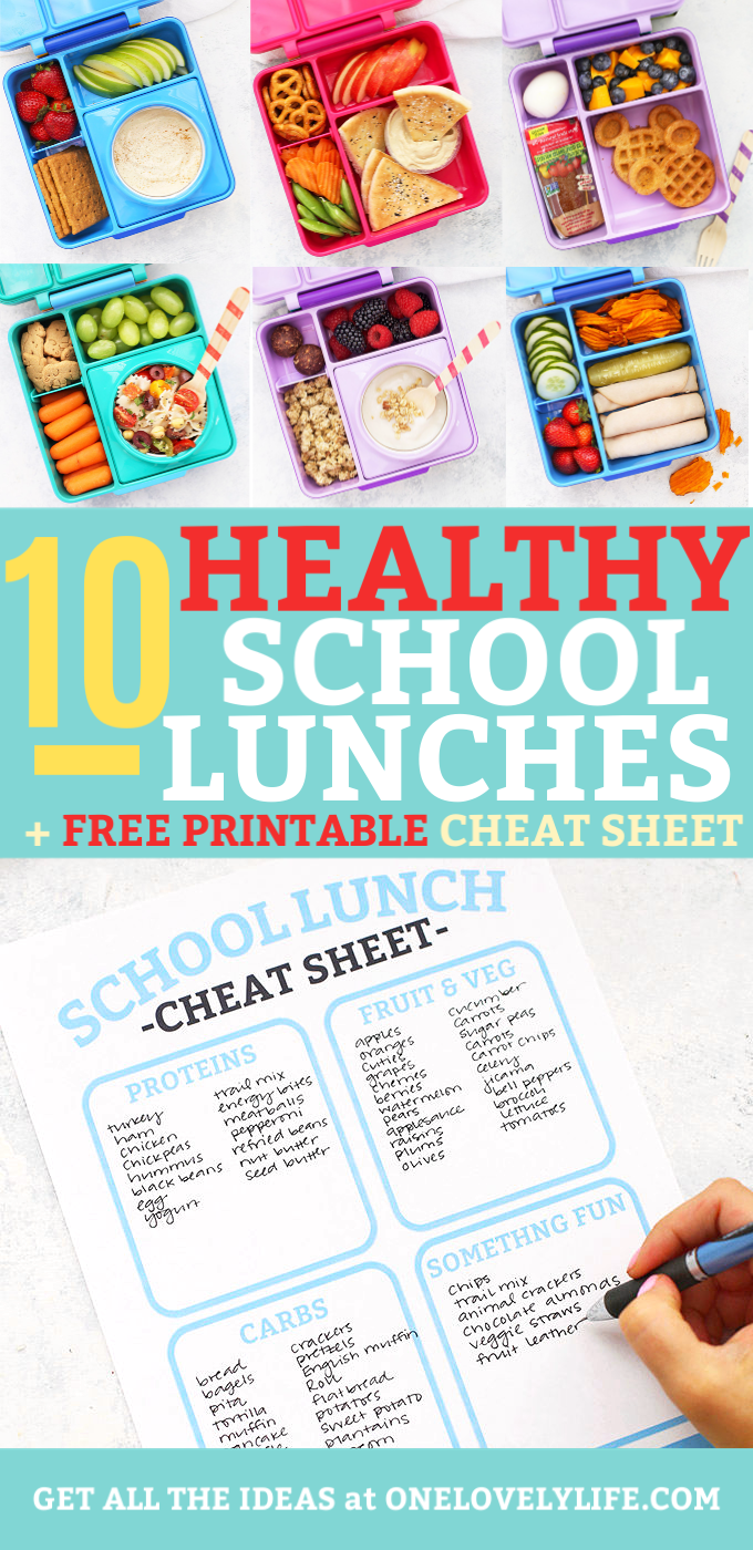 Healthy School Lunch Ideas - Two weeks of healthy school lunches packed in Omie Box lunch boxes and a free printable planning sheet for packing school lunches
