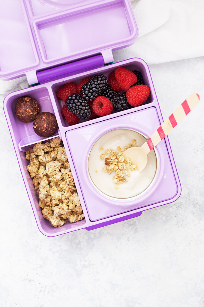 Healthy School Lunch Idea - Dairy Free Yogurt, Gluten Free Granola, Energy Bites, and Mixed Berries in an Omie Box lunchbox.