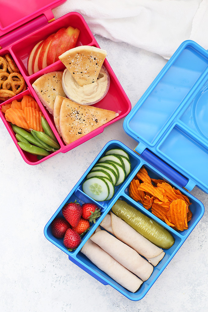 Healthy School Lunch Ideas - Two healthy school lunches packed in Omie Box lunch boxes.
