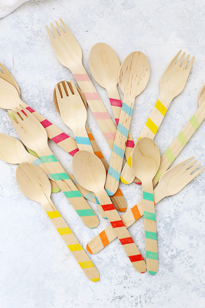 Candy striped wooden forks and wooden spoons from Sucre Shop.