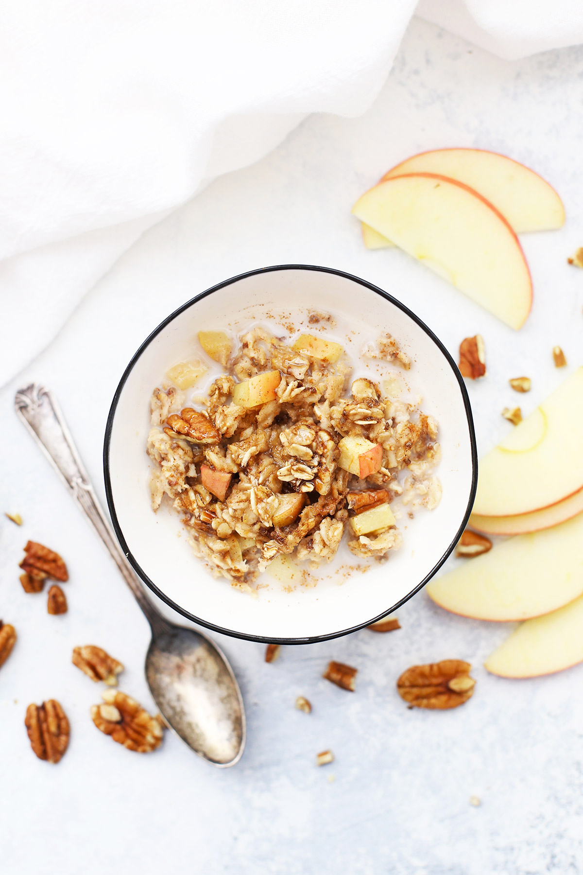 Bowl of Cinnamon Apple Baked Oatmeal with milk.