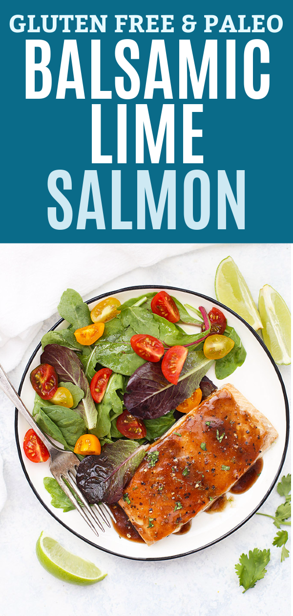 Balsamic Lime Glazed Salmon on plate with salad.