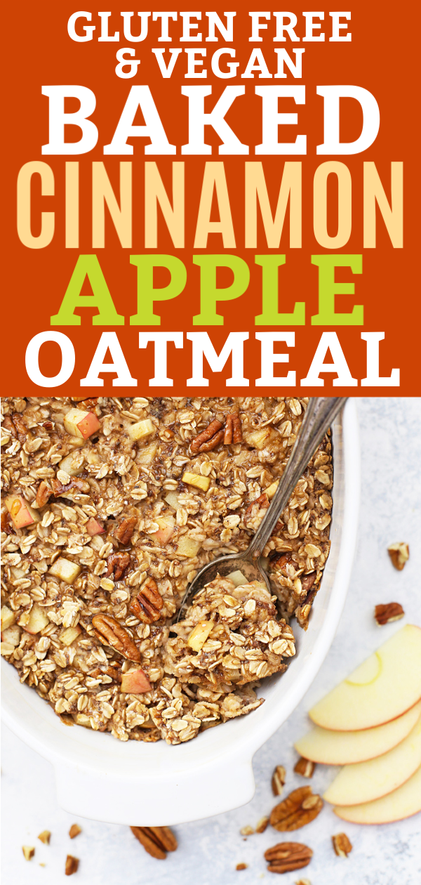 Baking dish of gluten free vegan apple cinnamon baked oatmeal.