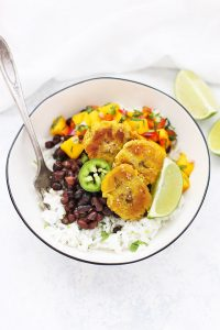 Vegan Plantain Burrito Bowl with Black Beans & Mango Salsa