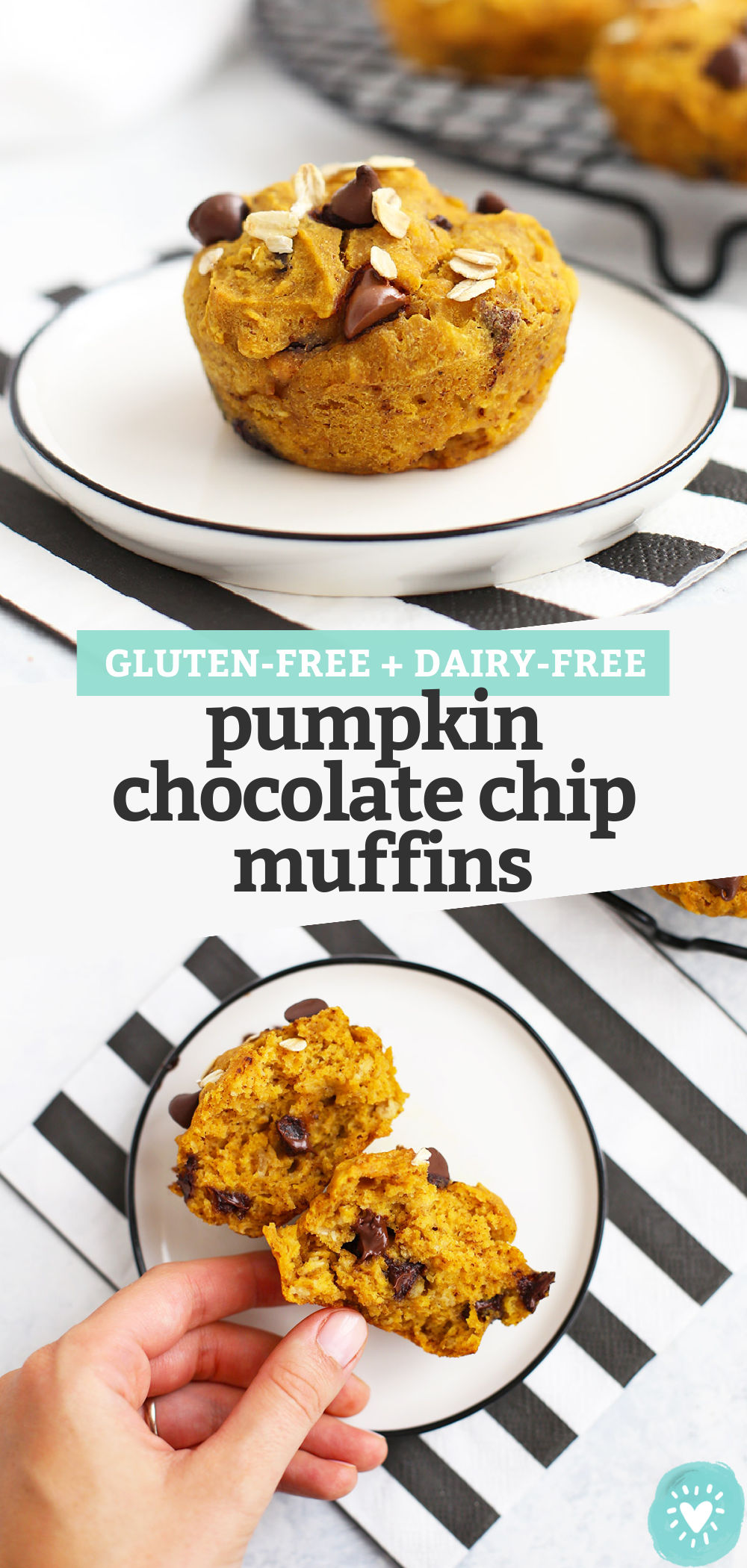 "Collage of Images of Gluten Free Pumpkin Chocolate Chip Muffins with text overlay that reads ""Gluten-Free Dairy-Free Pumpkin Chocolate Chip Muffins"""