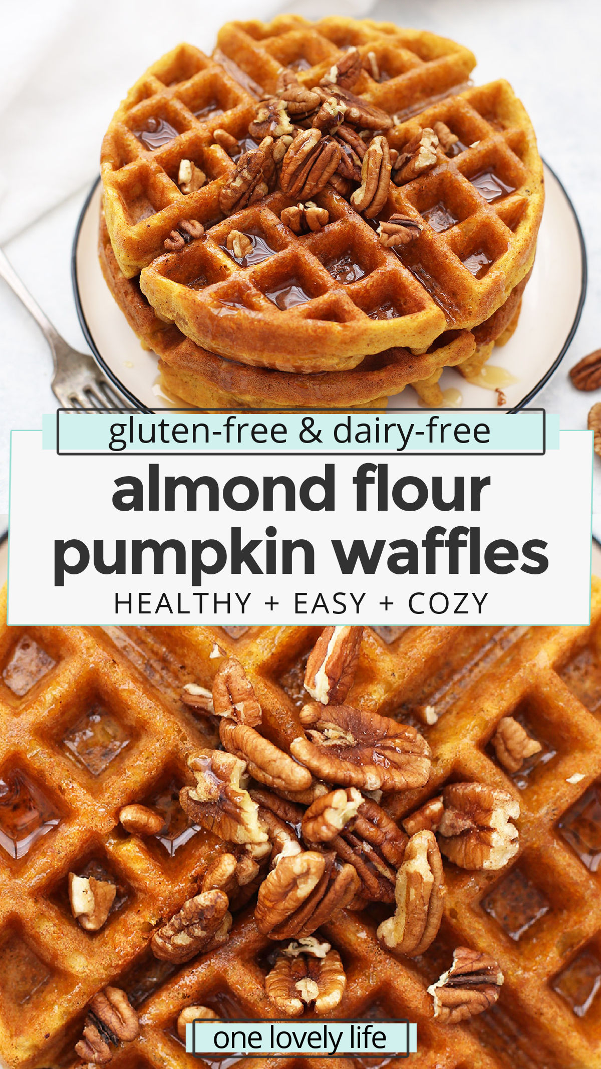 Almond Flour Pumpkin Waffles - These paleo pumpkin waffles are naturally gluten free, and completely delicious. Crispy on the outside and fluffy on the inside. // Paleo waffle recipe // almond flour waffle recipe // gluten free pumpkin waffle recipe // gluten free pumpkin waffles recipe // paleo pumpkin waffles recipe // almond flour waffles recipe // pumpkin waffles recipe // paleo breakfast // paleo pumpkin recipes // gluten free breakfast // healthy pumpkin waffles #almondflour #waffles