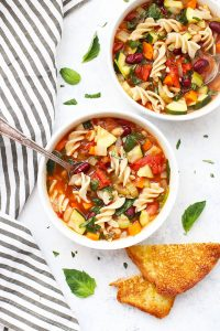 Simple Vegetable Minestrone Soup (Gluten Free & Vegan)