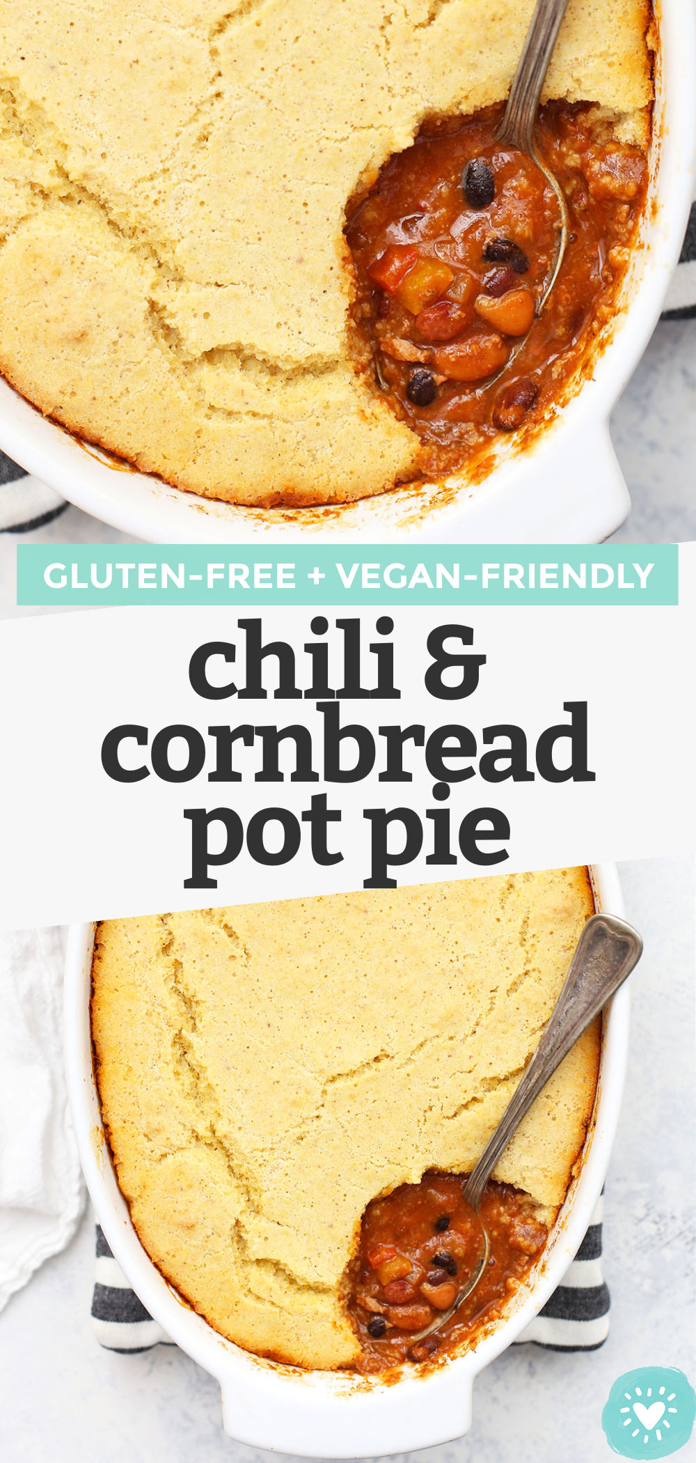 Chili Cornbread Pot Pie -This cozy chili & cornbread pot pie combines two favorites into one delicious meal. Gluten free, dairy free, and easily vegan!// tamale pie recipe // chili and cornbread // vegan chili // vegan cornbread // gluten free chili // gluten free cornbread // chili and cornbread pot pie recipe
