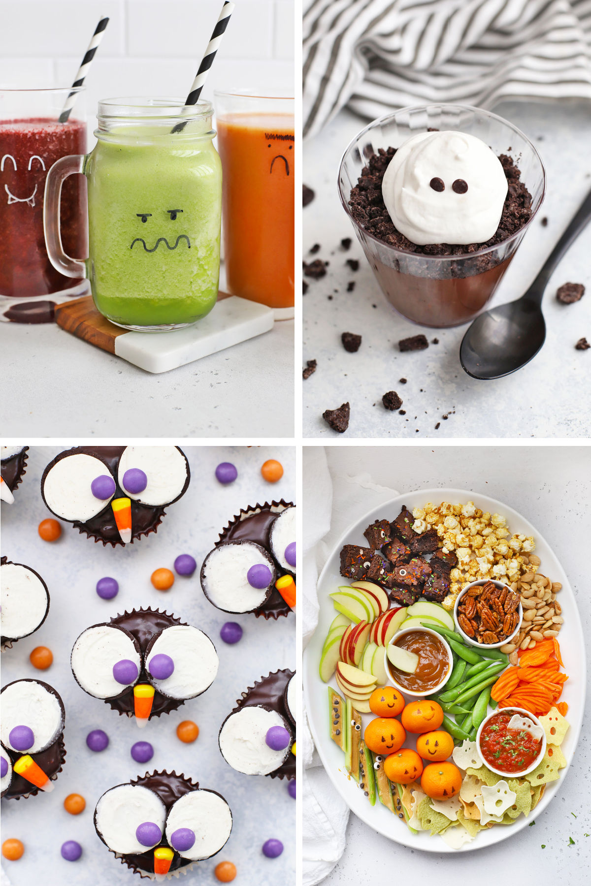 Cute, Easy Halloween Food Ideas - Make Halloween special with these easy Halloween food ideas! There are ideas for every meal of the day + dessert! (Gluten Free, Dairy Free & Vegan Options!) // halloween food // kid friendly halloween food // halloween party food // cute halloween food // owl cupcakes // monster green smoothies // ghost tortilla chips // ghost pudding cups // dirt pudding // jack o'lantern stuffed peppers #glutenfree #dairyfree #vegan