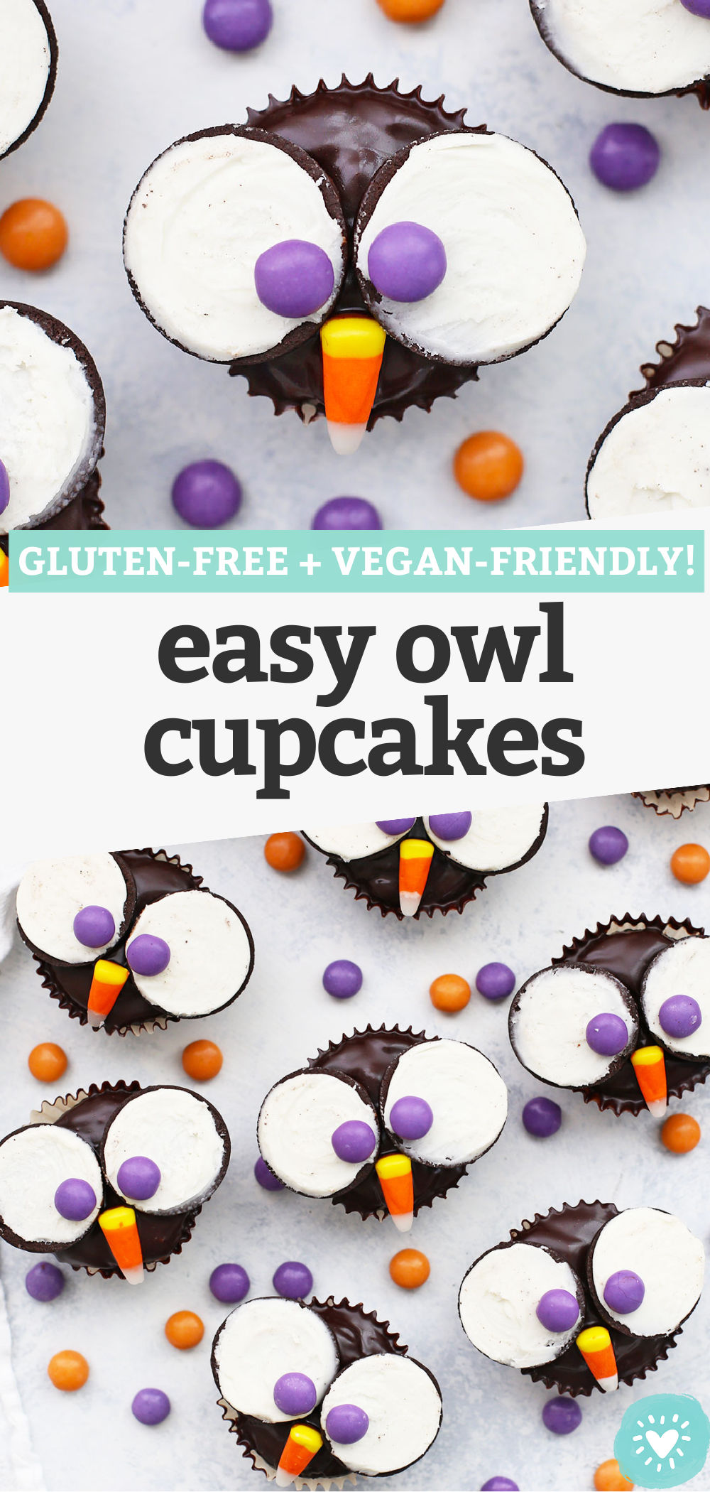 Owl Cupcakes - These adorable little owl cupcakes are perfect for parties or Halloween. Plus, it's easy to make them gluten free & dairy free! // gluten free cupcakes // owl cupcakes // vegan cupcakes // halloween cupcakes // gluten free halloween ideas // halloween treats // dairy free cupcakes // vegan chocolate frosting