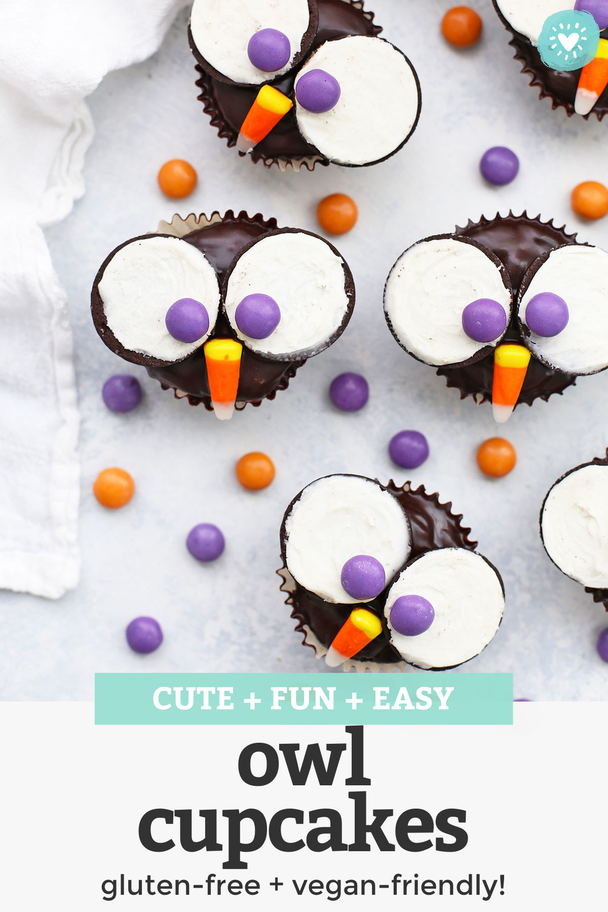Owl Cupcakes - These adorable little owl cupcakes are perfect for parties or Halloween. Plus, it's easy to make them gluten free & dairy free! // gluten free cupcakes // owl cupcakes // vegan cupcakes // halloween cupcakes // gluten free halloween ideas // halloween treats // dairy free cupcakes // vegan chocolate frosting #owlcupcakes #halloweencupcakes #cupcakes #glutenfreecupcakes #cupcakedecorating