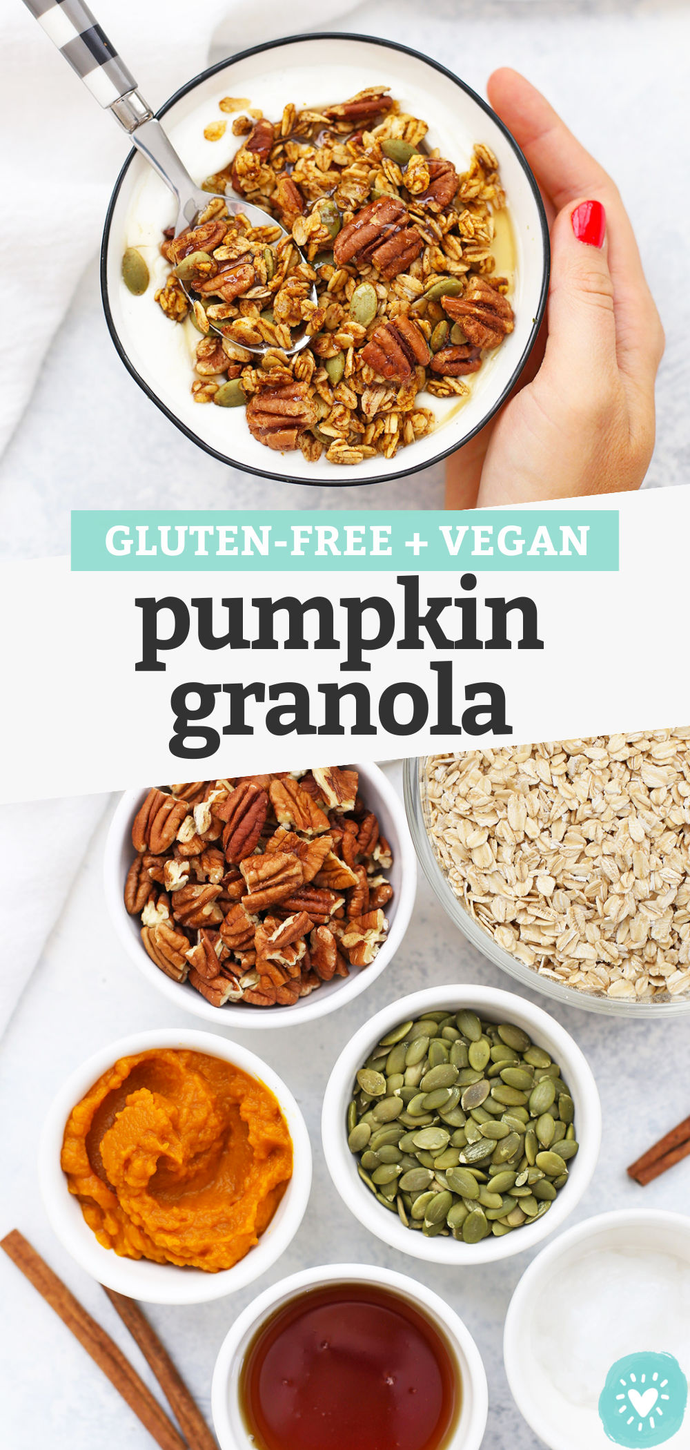 "Collage of images of gluten free pumpkin granola with text overlay that reads ""Gluten-Free + Vegan Pumpkin Granola"""