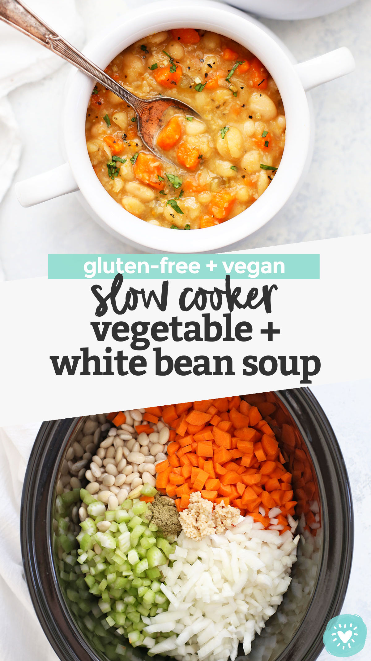 Slow Cooker Vegetable Bean Soup - Sometimes the easiest recipes are the best! This vegetable bean soup is made in a slow cooker and has the perfect cozy blend of flavors. We love this so much! (Gluten Free & Vegan) // Crock Pot Vegetable Bean Soup // Slow Cooker Soup Recipe // Crock Pot Soup Recipe // Vegan Slow Cooker Recipe // Vegetarian Slow Cooker Recipe // Vegan Soup // Vegetarian Soup // Bean Soup