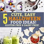 Collage image of cute, easy halloween food ideas - Owl cupcakes, ghost pudding cups, monster green smoothies, and ghost tortilla chips