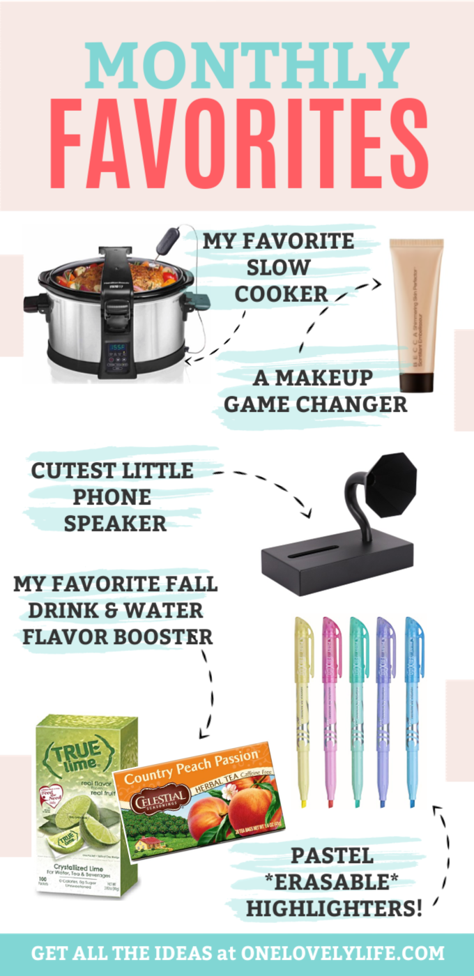 Collage of monthly favorites from One Lovely Life - Slow cooker, liquid highlighter, gramophone phone speaker, pastel erasable highlighters, true lime, peach passion tea
