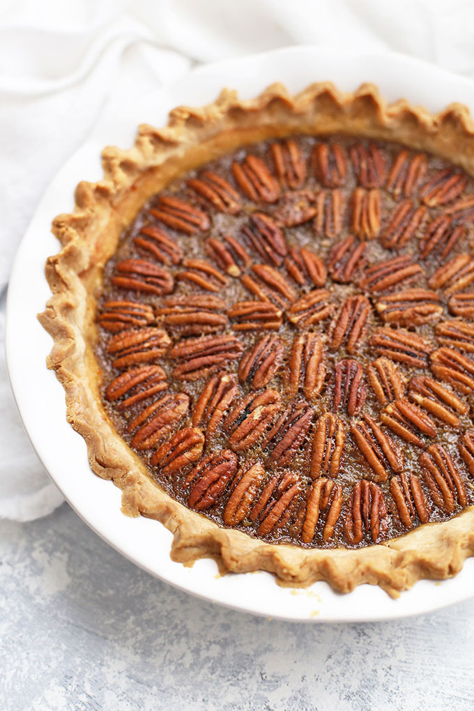 Partial view of a gluten free pecan pie