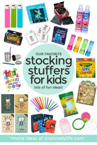 "Collage of images of kids stocking stuffers with text overlay that reads ""Our Favorite Stocking Stuffers For Kids. Lots of fun ideas!"""