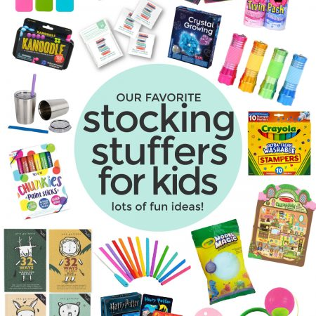 """Collage of images of kids stocking stuffers with text overlay that reads """"Our Favorite Stocking Stuffers For Kids. Lots of fun ideas!"""""""