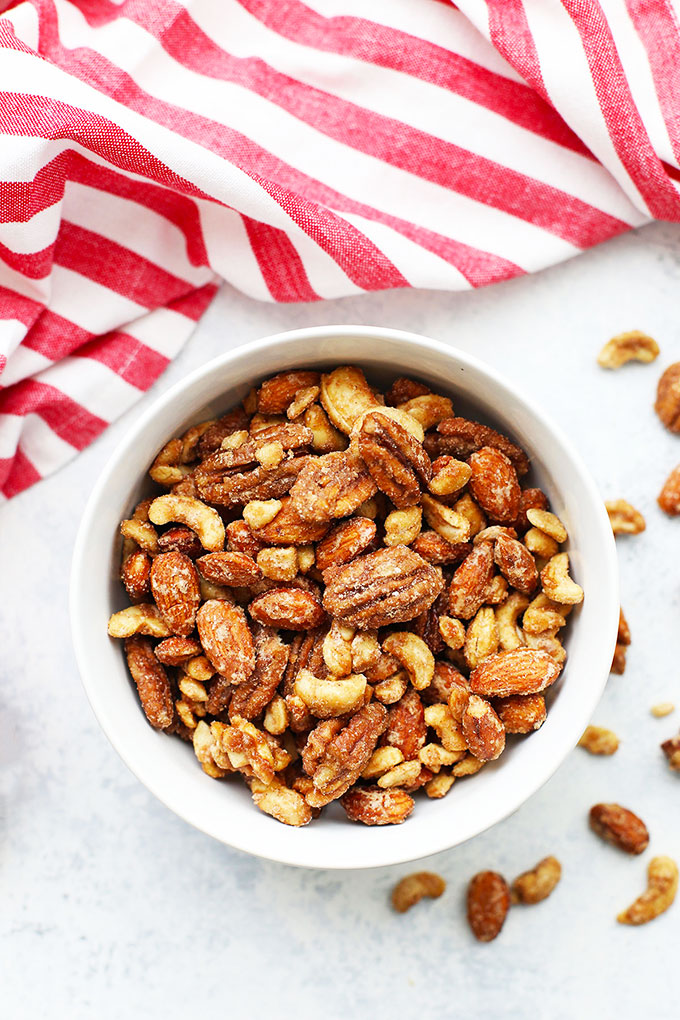 Overhead view of a bowl of paleo spiced candied nuts.