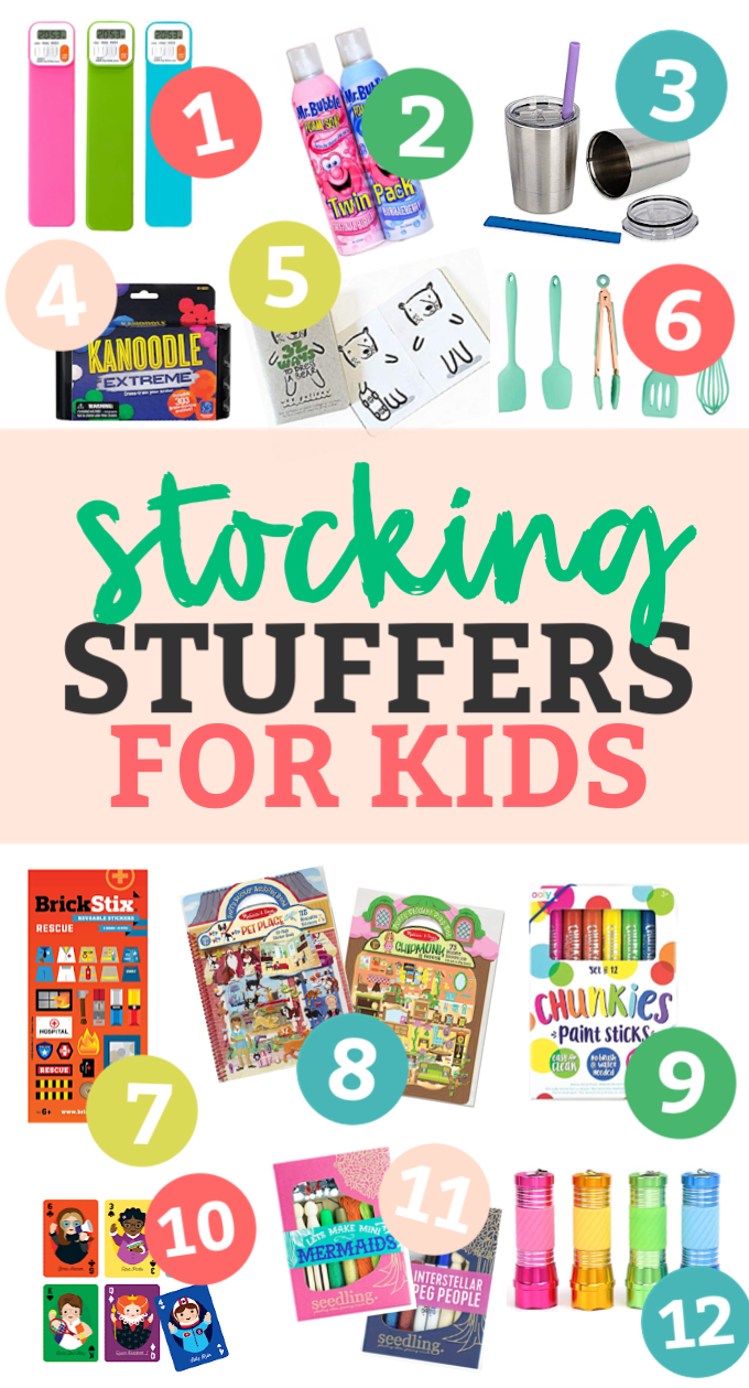 "Collage image of kids' stocking stuffers with text that reads ""Stocking Stuffers for Kids"""