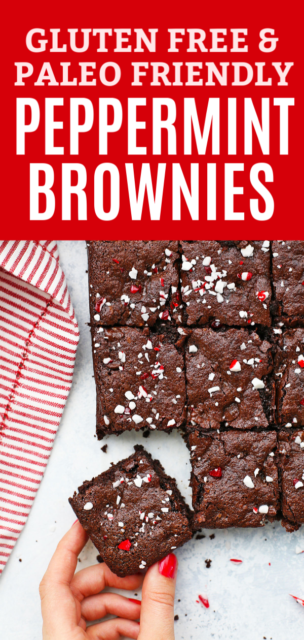 "Hand taking a gluten free peppermint brownie with text that reads ""Gluten Free & Paleo Friendly Peppermint Brownies"""