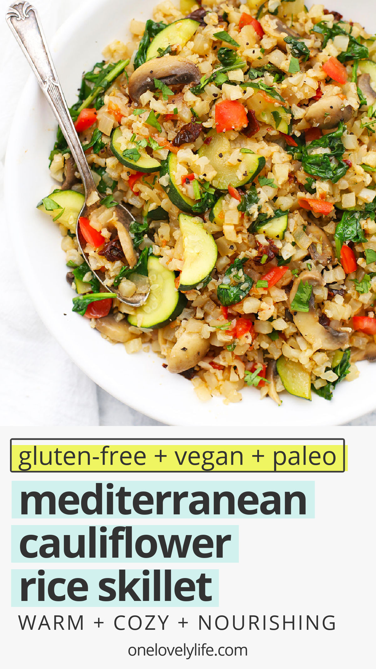 Mediterranean Cauliflower Rice Skillet -This easy cauliflower rice recipe tastes amazing and works for any meal of the day. Don't miss my meal prep tips + serving ideas!// cauli rice // cauliflower rice with mushrooms // mediterranean cauliflower rice // cauliflower rice pilaf // breakfast cauliflower rice // paleo breakfast // paleo meal prep // whole30 breakfast // whole30 meal prep // gluten free // dairy free