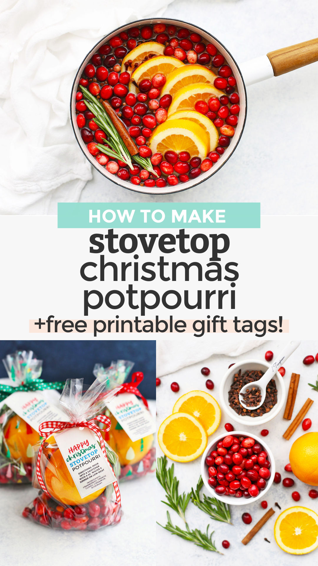 How to Make Stovetop Christmas Potpourri - This holiday potpourri recipe is like bottling up the Christmas smell! It's a great way to make your home smell like the holidays and makes a fantastic gift. Click for a how-to video and FREE PRINTABLE gift tags for gifting!#freeprintable #gifttags #printablegifttags // gift tags // free printable gift tags // free Christmas printable