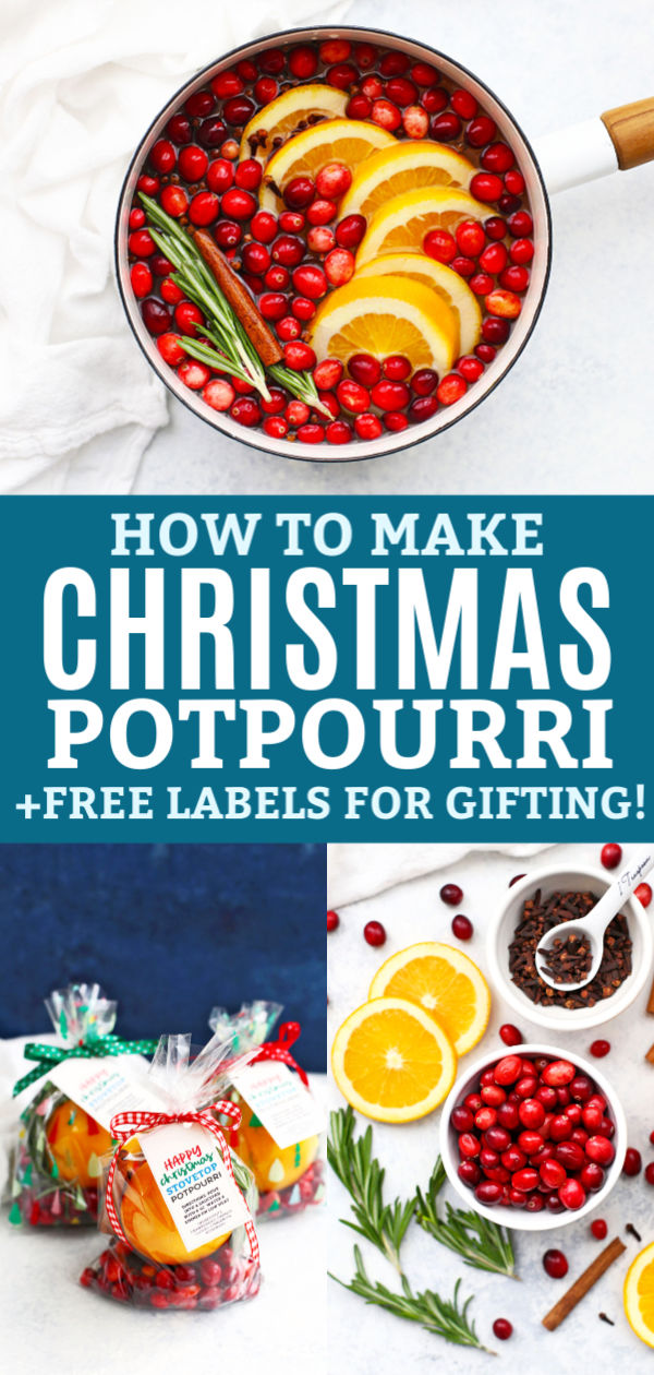 "Collage of stovetop Christmas potpourri - Christmas potpourri in a white saucepan with water, three packaged to deliver, and ingredients. Text reads ""How to Make Christmas Potpourri + Free Labels for Gifting!"""