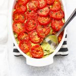 Close up of Pesto Chicken Spaghetti Squash (Gluten Free, Paleo & Whole30)