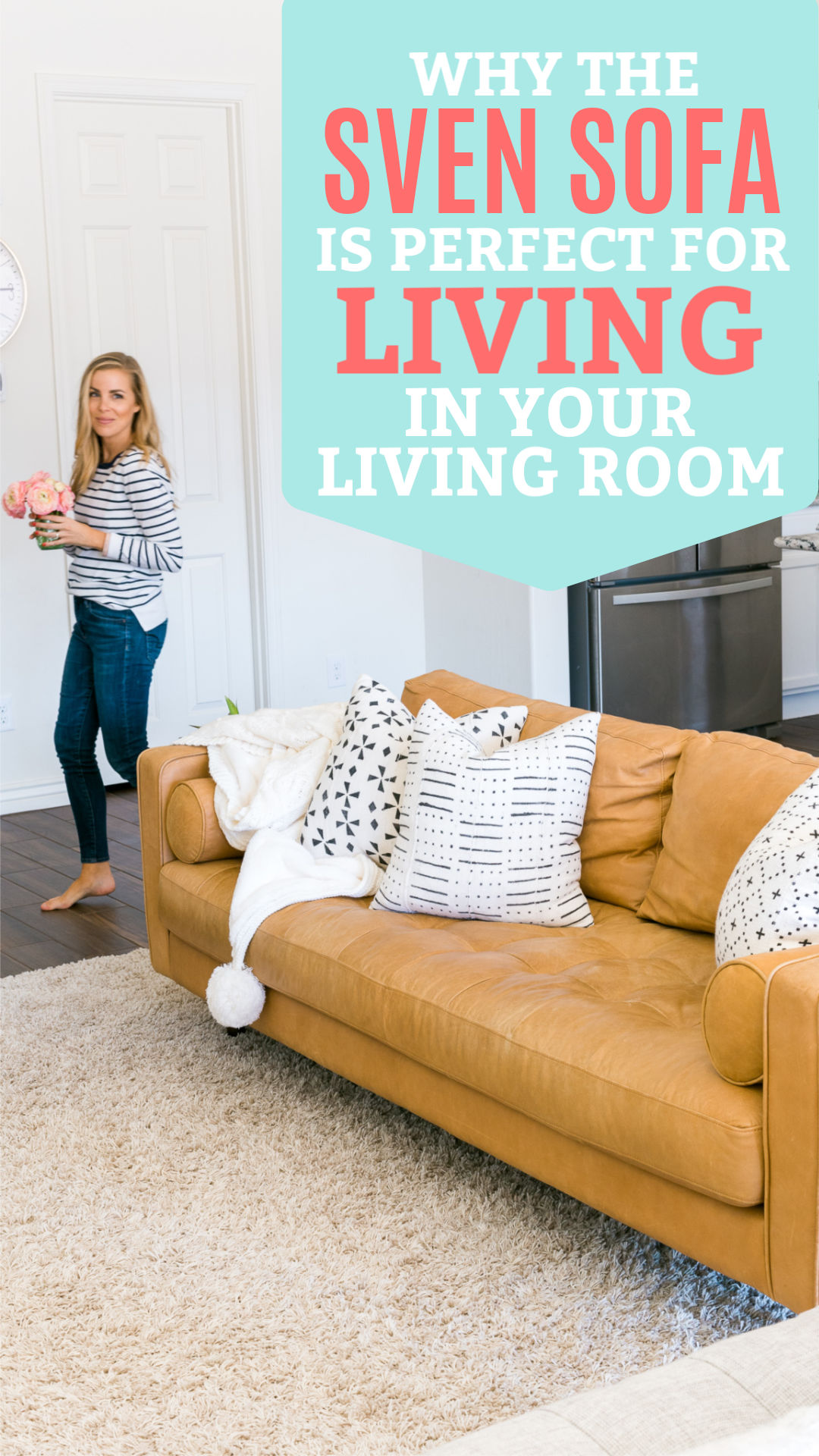 "Emily of One Lovely Life walking past Article Sven Charme Tan Sofa with text that reads ""Why the Sven Sofa is Perfect for Living in Your Living Room"""