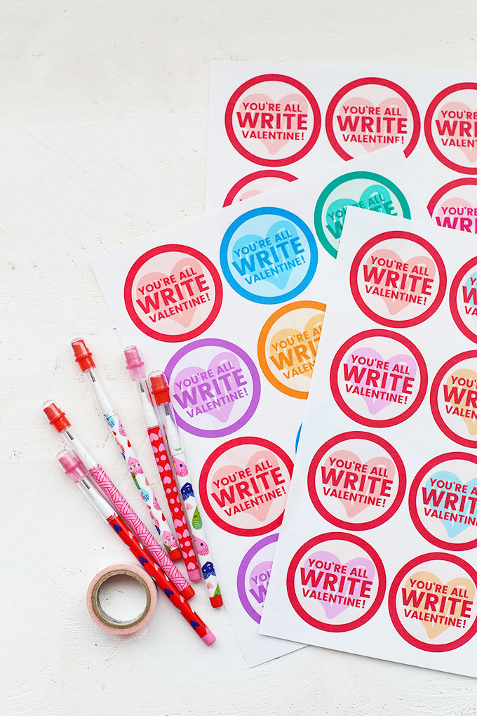 "Free printables and pencils for ""You're all Write, Valentine"" valentines from One Lovely Life"
