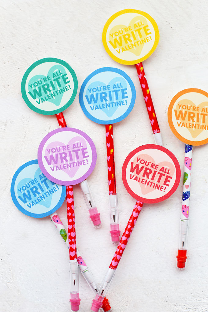 """You're all Write"" Pencil Valentines from One Lovely Life"