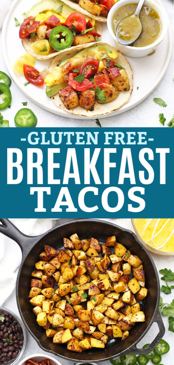 """Three Potato and Egg Breakfast Tacos with Salsa Verde from onelovelylife.com with text that reads """"Gluten Free Potato & Egg Breakfast Tacos"""""""